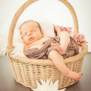 babyfotos im korb mit blumen bei neugeborenenshooting zuhause von fotografin